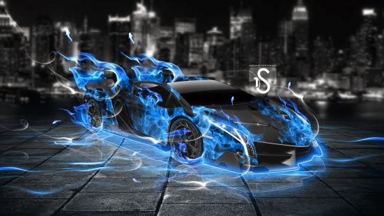 Blue Fire Lamborghini Veneno