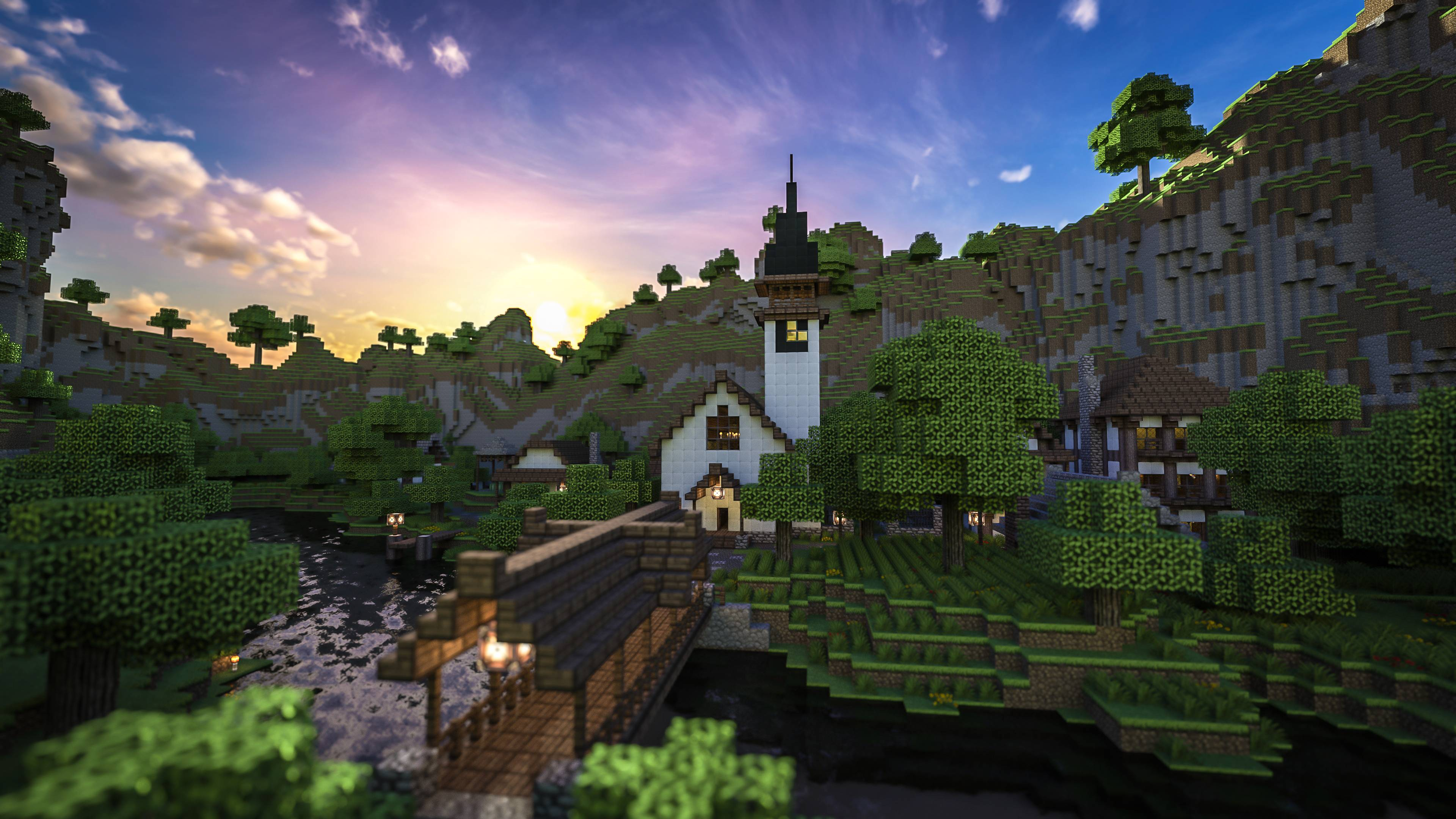 Minecraft City Hd Wallpaper