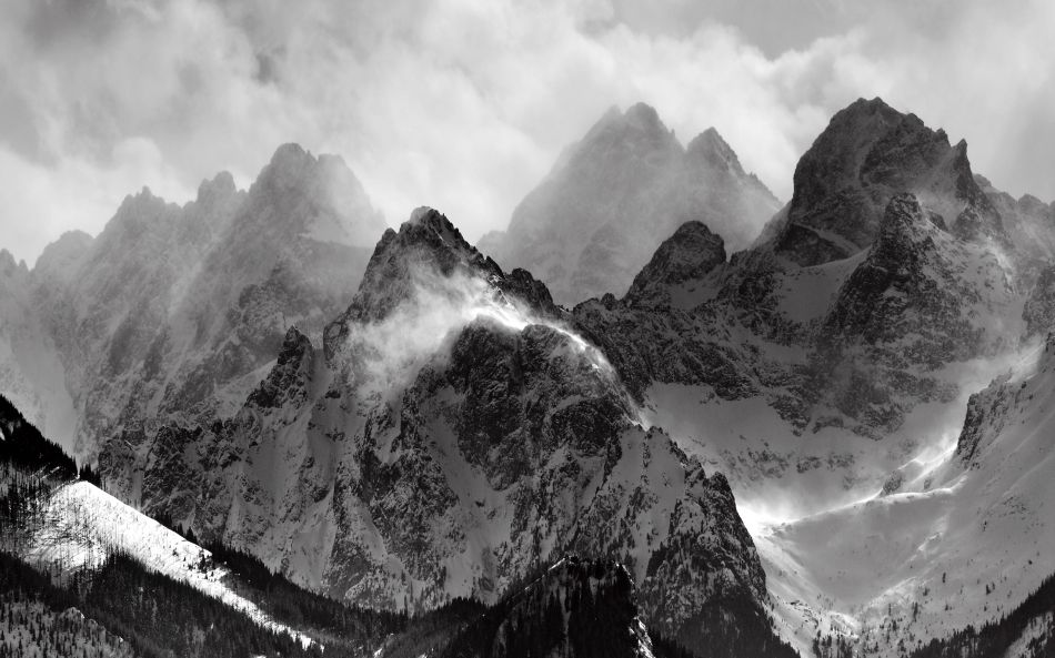 Misty mountains black and white