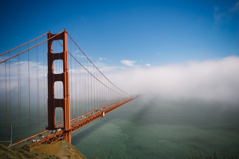 san francisco bridge in clouds